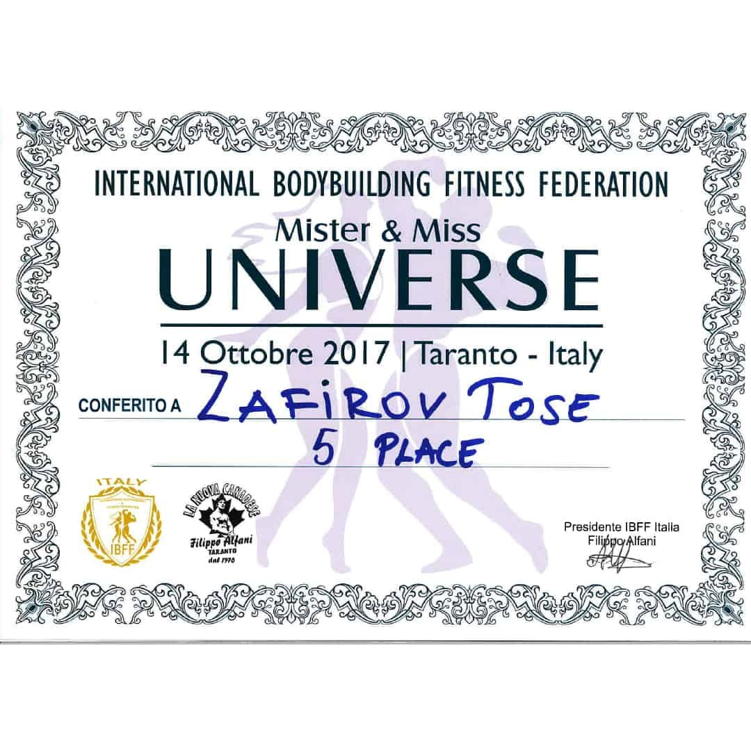 Certificate for winning the fifth place on ''Mister & Miss Universe'' organized by the International Bodybuilding Fitness Federation in Italy, 2017