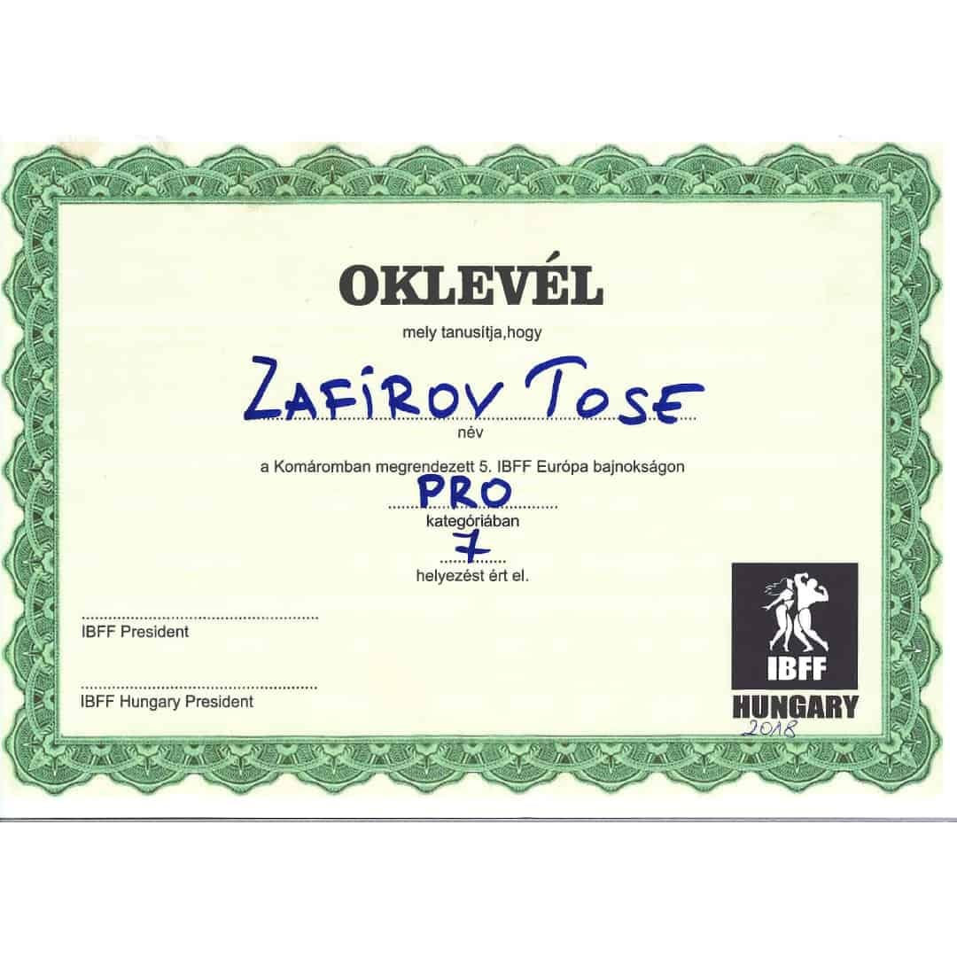 Certificate for Zafirov Tose for participating in the Pro Category and Placing in 7th place on IBFF Hungary 2018
