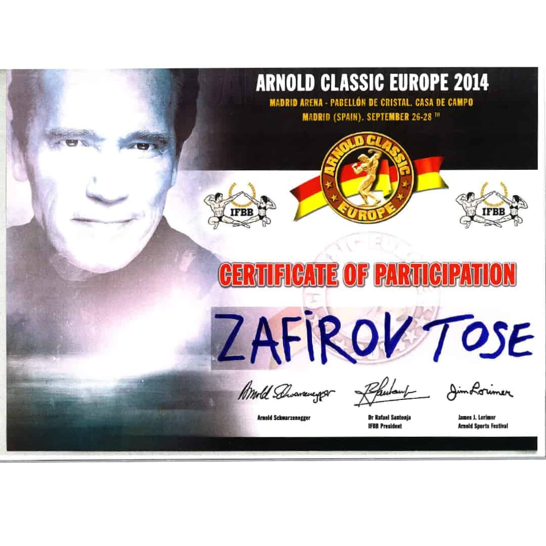 The Arnold Classic Europe 2014 Certificate of Participation for Tose Zafirov