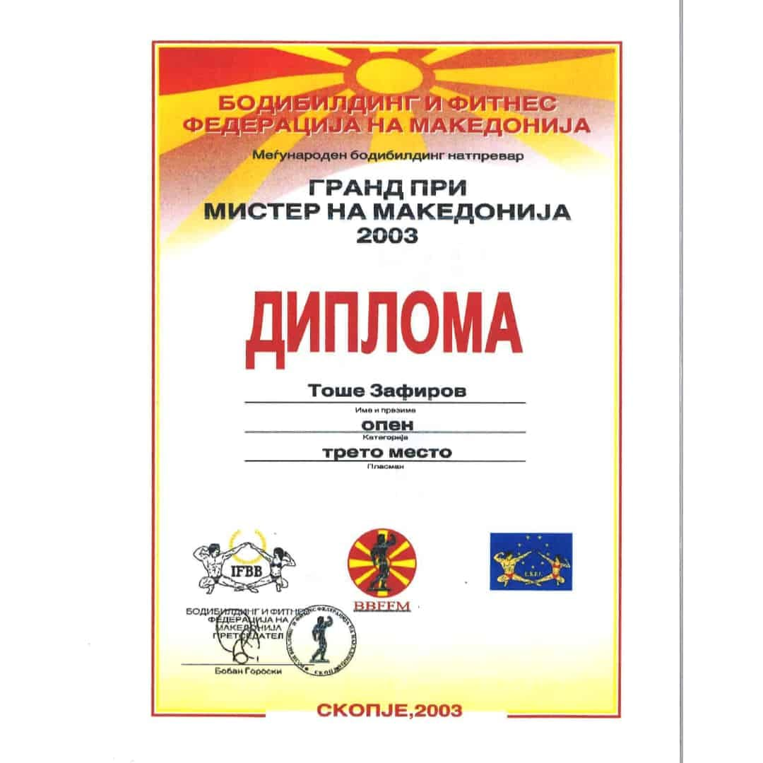 Diploma ''The grand pre-mister of Macedonia'' for Tose Zafirov getting in third place in 2003