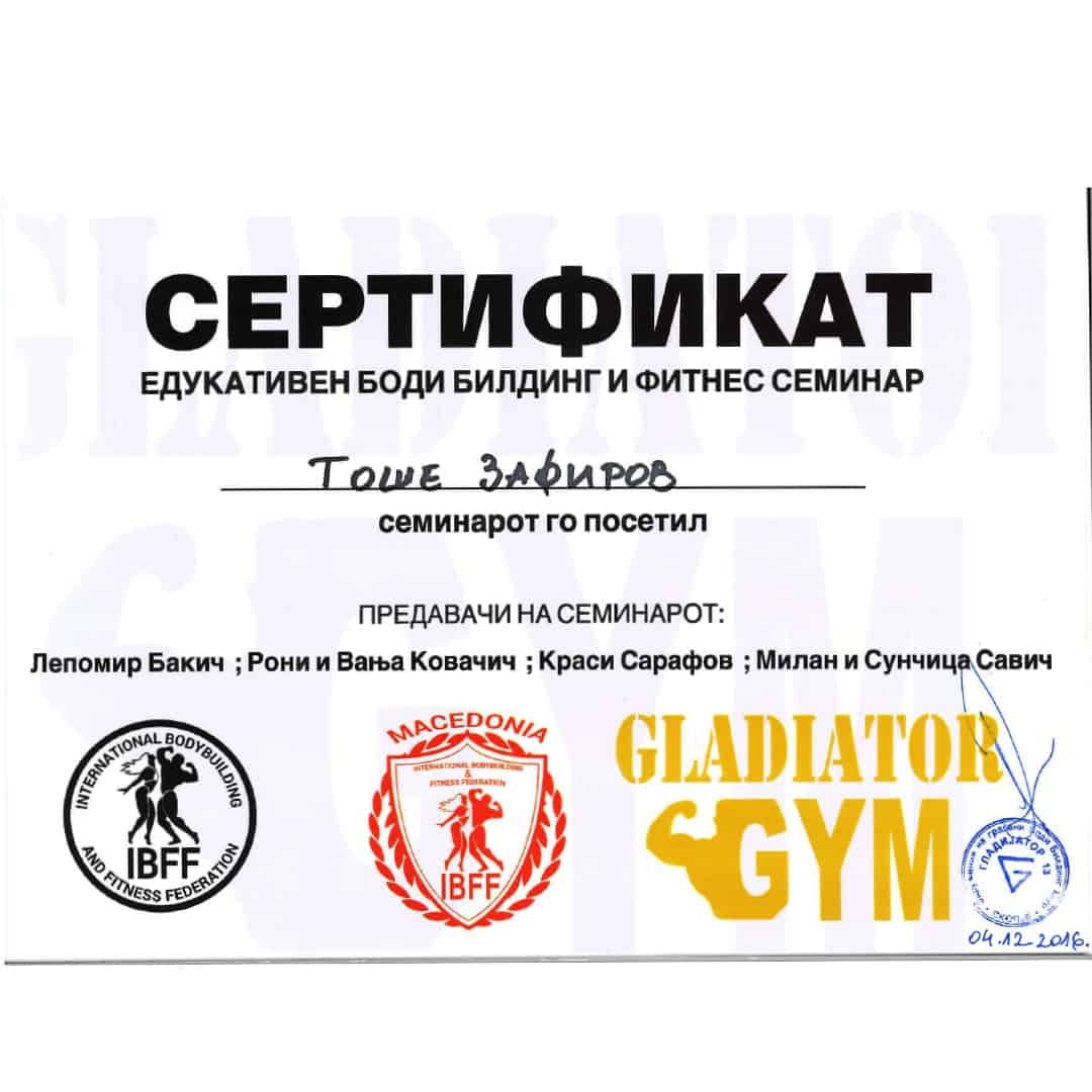 Certificate for attending the educational bodybuilding and fitness seminar to Tose Zafirov